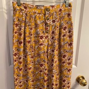 Mustard Cropped Floral Gaucho Pants